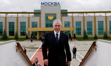 Presidente da República, Michel Temer durante cerimônia oficial de partida de Moscou Foto: Divulgação