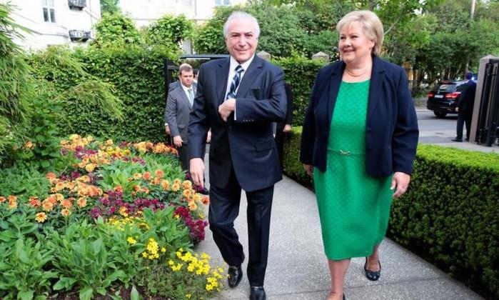 Resultado de imagem para Erna Solberg o rei da noruega e Temer