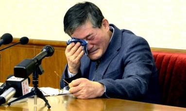 Kim Dong Chul participa de uma entrevista coletiva em Pyongyang, na Coreia do Norte Foto: KCNA / REUTERS