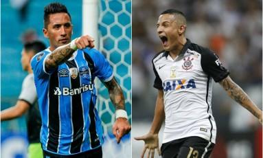 Lucas Barrios e Guilherme Arana: titulares de Grêmio e Corinthians Foto: Montagem com fotos de Lucas Uebel/Grêmio e Andre Penner/AP