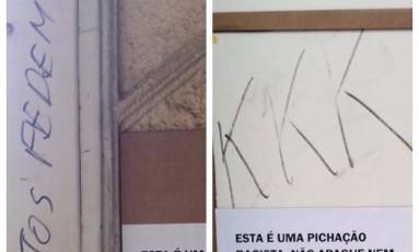 Ofensas foram deixadas em parede do Centro de Letras e Artes Foto: Reprodução