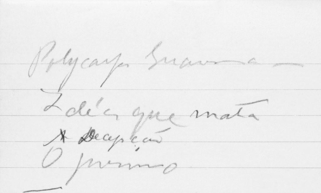 """Manuscrito do """"Diário íntimo"""" de Lima Barreto, onde se lê """"Policarpo Quaresma"""" e, abaixo, """"Ideia que mata"""" e """"A decepção"""" Foto: Divulgação"""