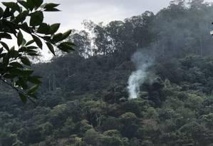 Foto feita em fevereiro por morador do Aruã de queimada no Parque da Cidade Foto: Foto de leitor