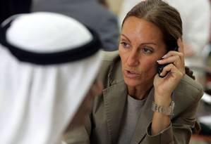 A jornalista Véronique Robert foi ferida em explosão de mina em Mossul, no Iraque Foto: Karim SAHIB / AFP