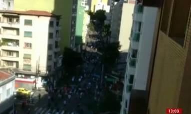 Vídeo mostra correria após atropelamento de skatistas na Rua Augusta, em São Paulo Foto: Reprodução/Globonews