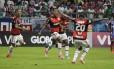 Berrío comemora o gol da vitória do Flamengo sobre o Bahia Foto: Divulgação Flamengo