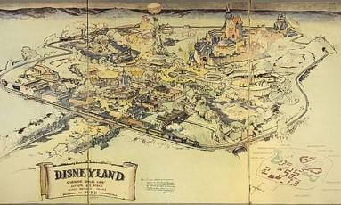 O mapa ilustra a visão original de Walt Disney para o parque temático Foto: Van Eaton Galleries
