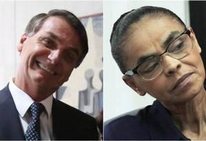 Datafolha aponta Jair Bolsonaro e Marina Silva empatados em pesquisa Foto: Michel Filho/Jorge William / O Globo