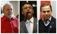 Pré-candidatos à Presidência em 2018: Lula, Bolsonaro e Doria Foto: Montagem/O GLOBO