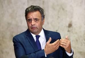 O senador afastado Aécio Neves (PSDB-MG) Foto: Givaldo Barbosa / Agência O Globo 21/03/2017
