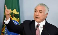 Presidente Michel Temer parte para o ataque em pronunciamento Foto: EVARISTO SA / AFP