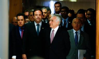 Michel Temer fez um pronunciamento nesta terça-feira (27) e atacou denúcia do procurador-geral da República Foto: Walterson Rosa/Framephoto / O Globo