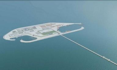 Projeto da ilha artificial a ser construída em Gaza Foto: Reprodução / REUTERS