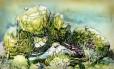 Desenho mostra as montanhas flutuantes de Pandora: O mundo de Avatar, no Animal Kingdom, na Disney World
