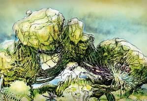 Desenho mostra as montanhas flutuantes de Pandora: O mundo de Avatar, no Animal Kingdom, na Disney World Foto: Alessandro Alvim / Editoria de Arte/O Globo