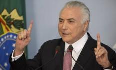 O presidente Michel Temer, durante pronunciamento no Palácio do Planalto Foto: Eraldo Peres / AP