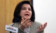 Raquel Dodge, durante debate entre os candidatos à Procuradoria-Geral Foto: Jorge William / Agência O Globo/23-06-2017
