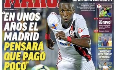 Vinícius Jr. foi destaque na capa do jornal 'Marca' nesta quinta-feira (29) Foto: Reprodução