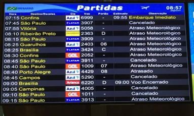 Painel com horários mostra os voos com atraso meteorológico Foto: Reprodução