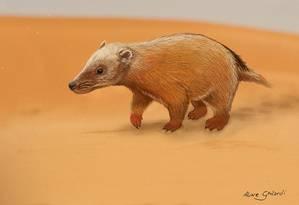 Ilustração mostra possível aparência do 'Aracoaraichnium leonardii' com o animal caminhando sobre as dunas do Paleodeserto Botucatu Foto: Divulgação/Aline Ghilardi