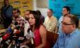 Ex-deputada María Corina Machado faz coletiva de imprensa em Caracas