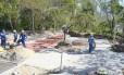 Acertos finais. Operários trabalham no Parque das Águas