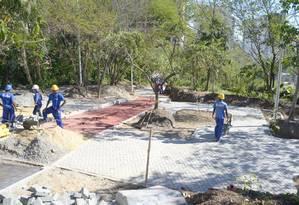 Acertos finais. Operários trabalham no Parque das Águas Foto: Picasa / Divulgação/Bruno Eduardo Alves