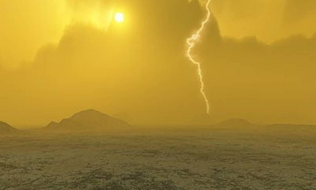 Ilustração da superfície de Vênus, onde temperatura ultrapassa os 460ºC, o bastante para derreter chumbo Foto: ESA