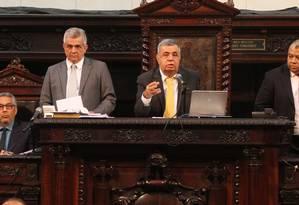 O presidente da Alerj Jorge Picciani, em sessão na Assembleia Legislativa do Rio Foto: Thiago Lontra - 24/05/2017 / Agência O Globo