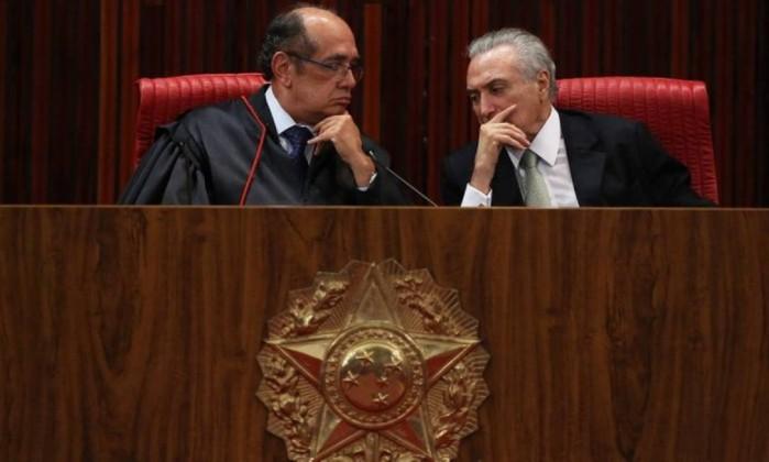 O presidente Michel Temer e o presidente do TSE,Gilmar Mendes - Arquivo O GLOBO