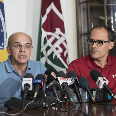 Os presidentes do Flamengo, Eduardo Bandeira de Mello, e do Fluminense, Pedro Abad Foto: Celso Pupo / Fotoarena