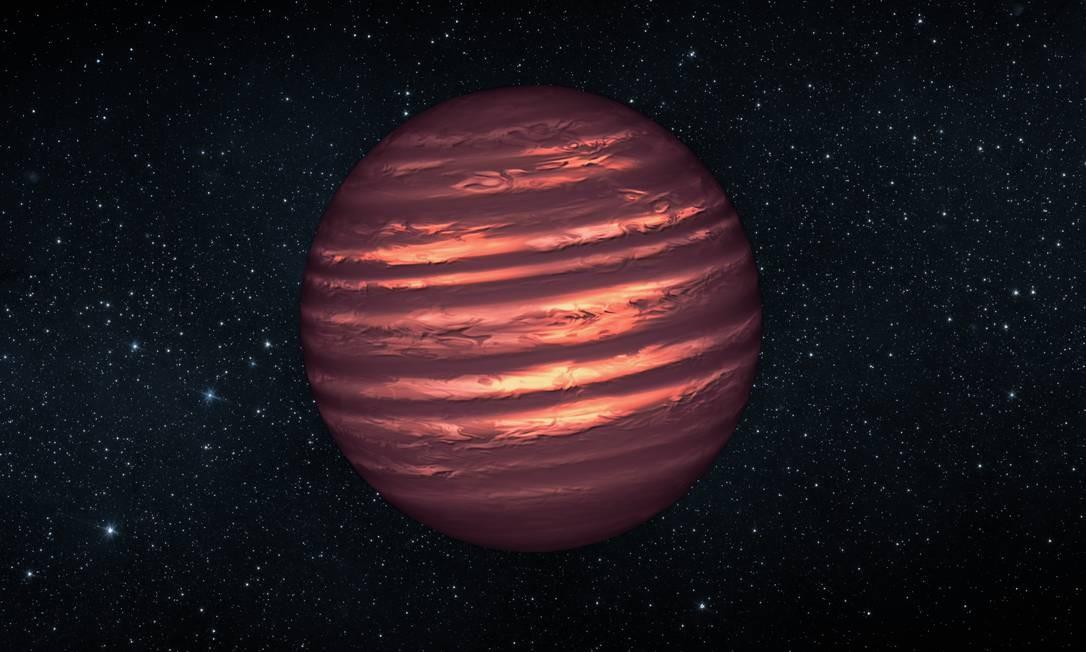 Ilustração mostra uma anã marrom: mais maciços e quentes do que planetas, estes objetos não cresceram o suficiente para se tornarem estrelas Foto: NASA/JPL-Caltech