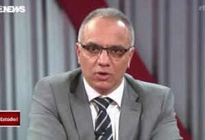 Roberto Sá, secretário de Segurança, em entrevista no Estúdio I Foto: Reprodução