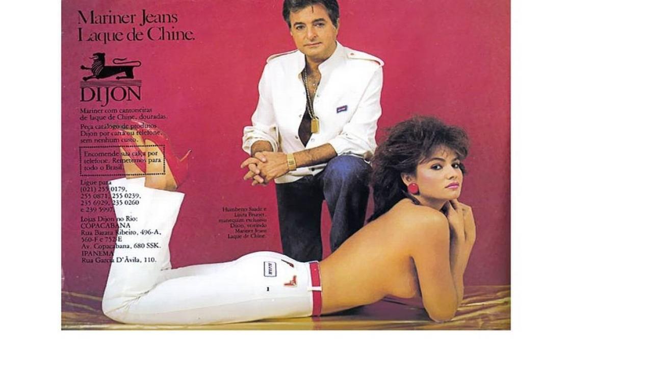 Humberto Saad e Luiza Brunet em um dos anúncios da Dijon: calças com cantoneiras douradas eram um hit da marca Foto: Reprodução