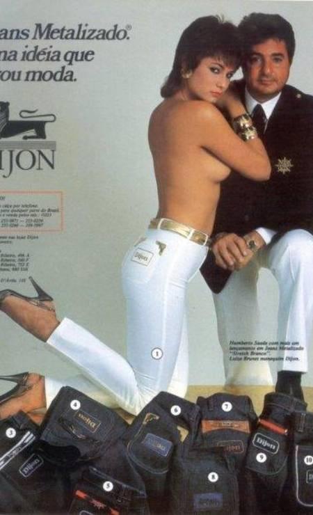 Os anúncios da Dijon com Humberto Saad e Luiza Brunet eram um clássico nos anos 1980... Foto: Reprodução