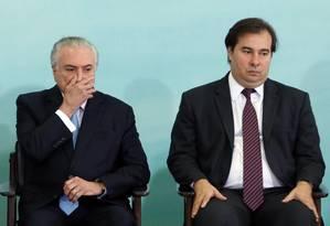 O presidente Michel Temer ao lado do presidente da Câmara, Rodrigo Maia, Foto: Givaldo Barbosa / Agência O Globo / 7-6-17