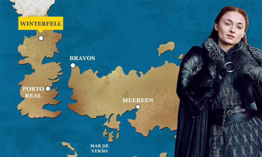 Sansa Stark está em Winterfell ao lado de Jon Snow. O Globo
