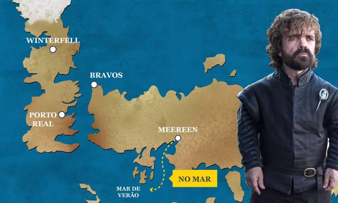 """Tyrion Lannister está na esquadra de Daenerys a caminho de Westeros. Atualmente ele é a """"Mão do Rei"""" da herdeira Targaryen. O Globo"""