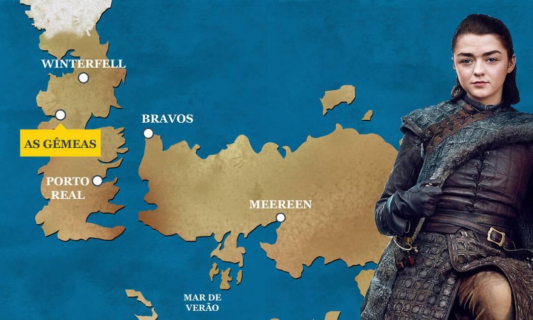 Arya Stark teve sua última aparição nas Gêmeas, quando matou Walter Frey e seus filhos. Uma aguardada vingança pela chacina de sua família. Ela segue a caminho de Winterfell. O Globo