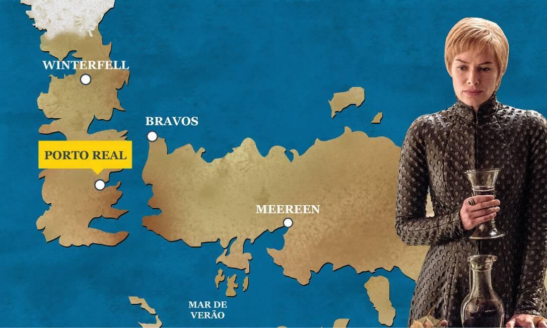 Cersei Lannister é a nova Rainha de Westeros. Após explodir o Septo de Baelor, eliminando seus inimigos, seu filho Tommem - o então Rei - se suicidou. Coube então a ela o Trono de Ferro. O Globo