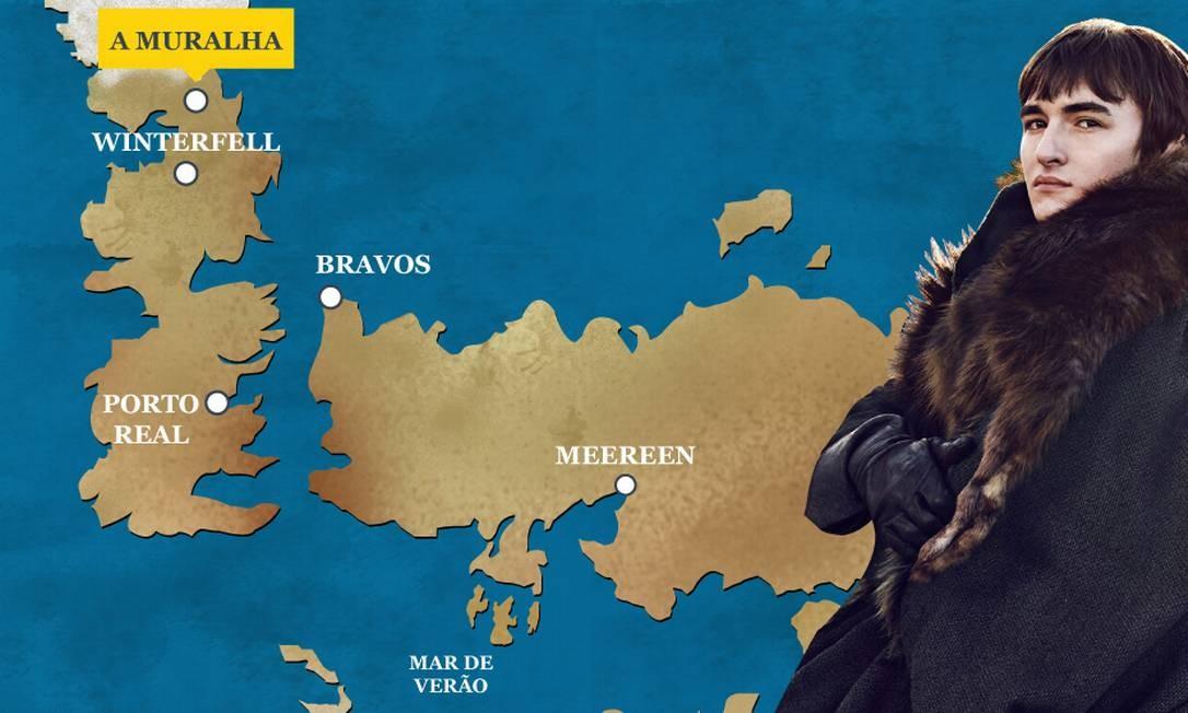 """Após longa jornada de preparação para se tornar o Corvo de Três Olhos, Bran e Meera terminaram a sexta temporada chegando à Muralha, com ajuda de Benjen """"Mãos frias"""". O Globo"""