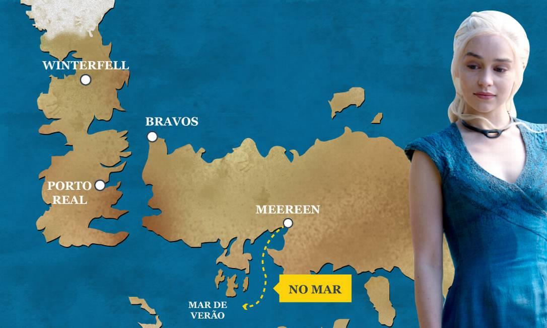 Finalmente Daenerys Targaryen está voltando para casa. Com o apoio das casas Martell e Tyrell, ela parte de Meereen com seus Imaculados e Dothrakis rumo à conquista de Westeros. O Globo