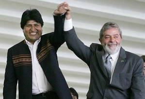 Evo Morales e Lula: parceria antiga Foto: Divulgação