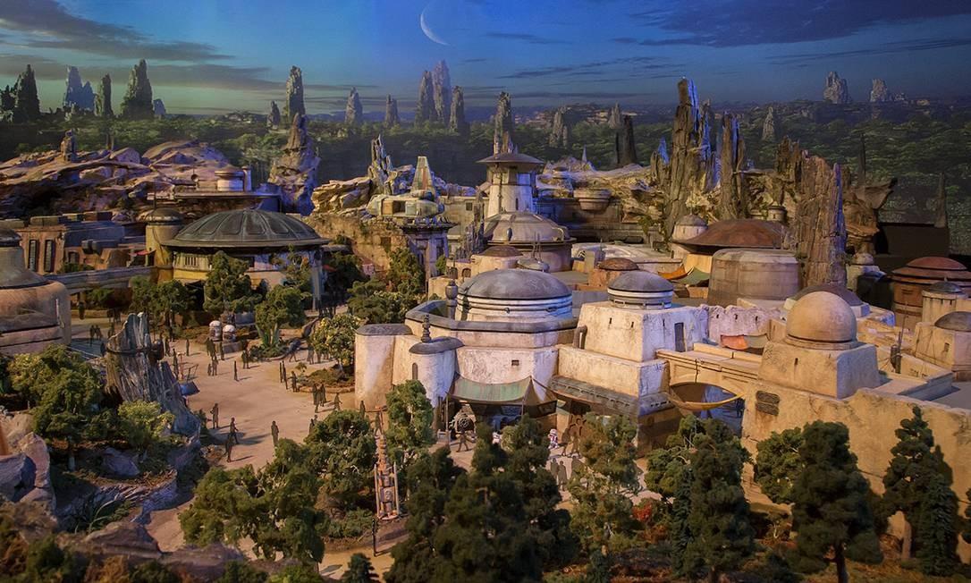 Maquete mostra como será as áreas temáticas de Star Wars nos parques da Disney na Flórida e na Califórnia Foto: Disney Parks / Reprodução