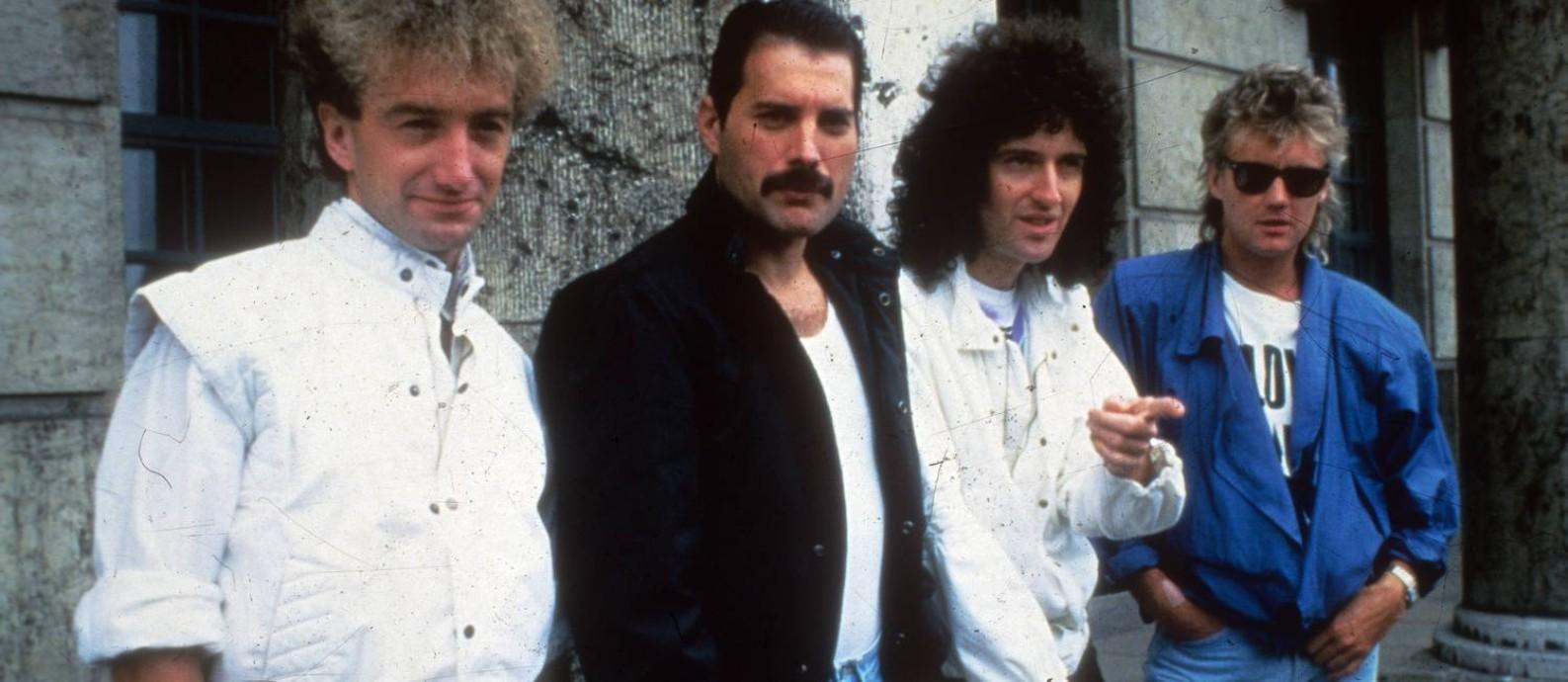 John Deacon, Freddie Mercury, Brian May e Roger Taylor em 1985, na cidade para o Rock In Rio Foto: Arquivo O Globo