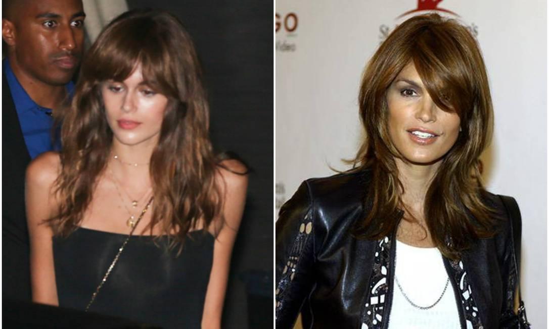 Kaia, à esquerda, com o novo look; Cindy, à direita, quando tentou franja AKM-GSI / Vince Bucci/AFP
