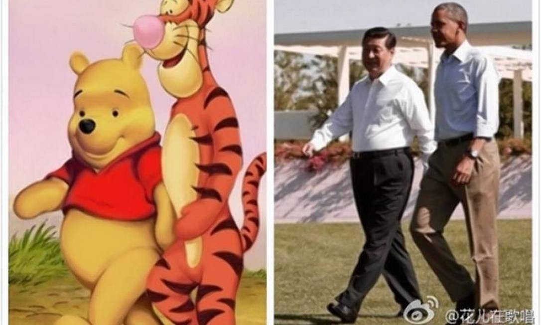 Internautas comparavam o presidente chinês, Xi Jinping, com o Ursinho Pooh Foto: / REPRODUÇÃO/WEIBO