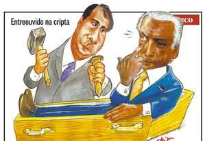Charge de Chico Caruso retrata Rodrigo Maia e Michel Temer Foto: Reprodução