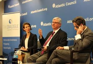 O procurador-geral, Rodrigo Janot, em palestra nos Estados Unidos Foto: Daniel Trielli / AP / 19-7-17