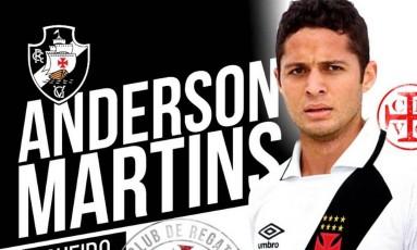 Anderson Martins está de volta ao Vasco Foto: Reprodução